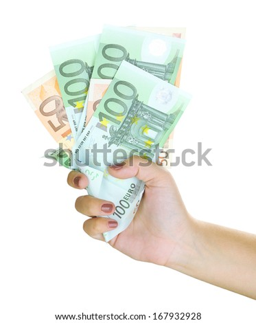 Female hand with euro close up isolated on white