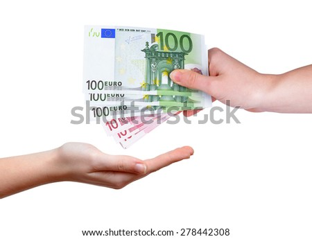 Female hand with euro money isolated on white background - stock photo