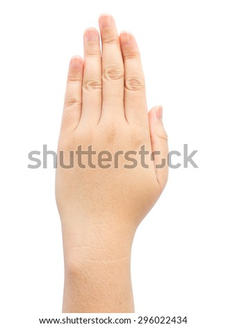 Female hand with five finger on isolated background. - stock photo