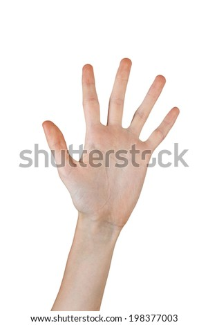 Female hand with manicure shows five fingers shot closeup