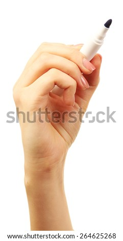 Female hand with marker isolated on white - stock photo