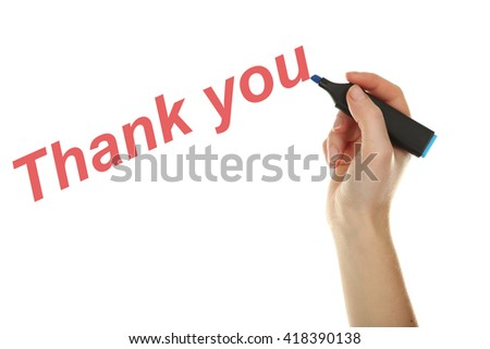 Female hand with marker on white background - stock photo