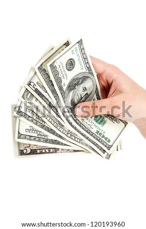 Female hand with money isolated on a white background. Dollar bills. - stock photo