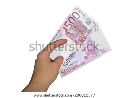 Female hand with one thousand euros
