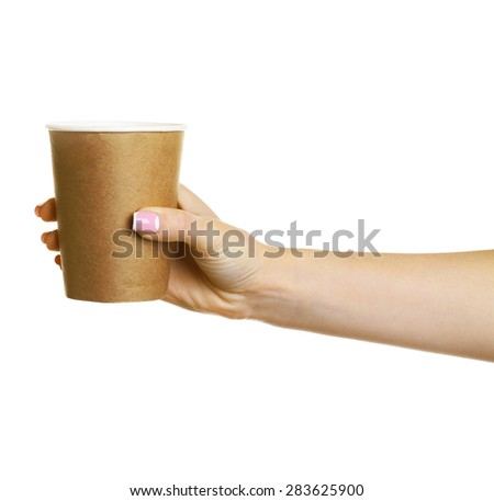 Female hand with paper cup isolated on white