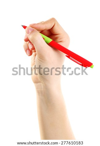 Female hand with pen isolated on white