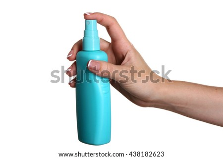 female hand with sprayer on white isolated background