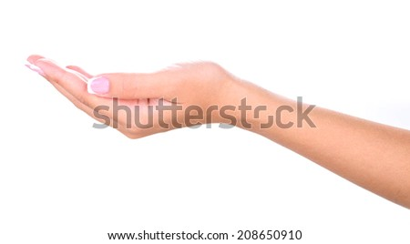 Female hand with stylish colorful nails isolated on white