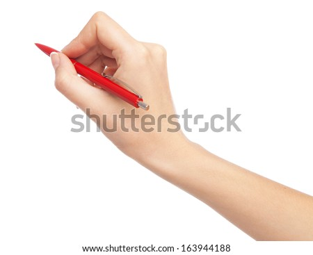 Female hand writing with a red pen, white background - stock photo
