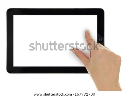 Female hand zoom in on tablet with blank screen isolated - stock photo