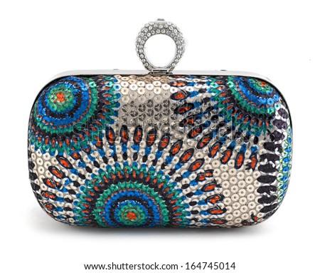 Female handbag isolated on white - stock photo