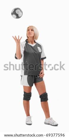 Female handball player playing whit ball - stock photo