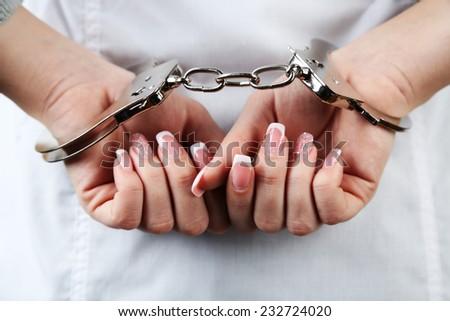 Female Hands Handcuffed Wrist Closeup Stock Photo (Royalty Free ...