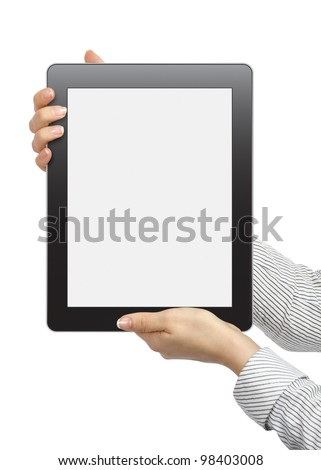 female hands are holding the touch screen device isolated on white background - stock photo