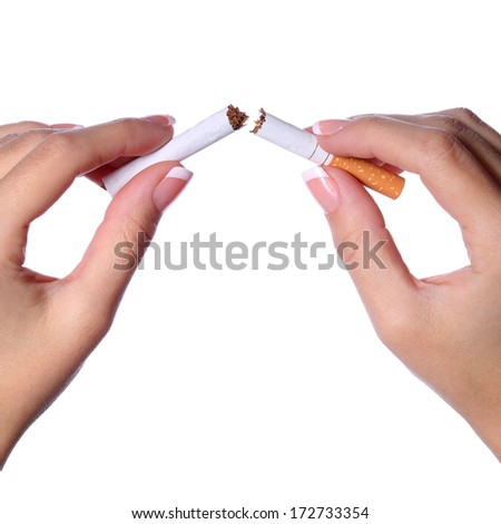 Female hands breaking a cigarette in two isolated on white. Stop smoking concept - stock photo