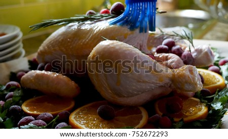 Female Hands Brushing Whole Raw Chicken With Roasting Sauce in Roasting Pan With Oranges Cranberries and Herbs in Oven Tray.