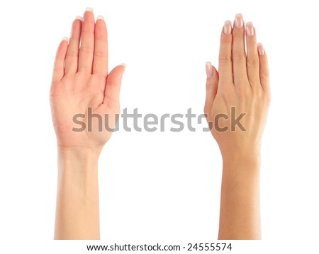 Female hands counting. Attention, Stop