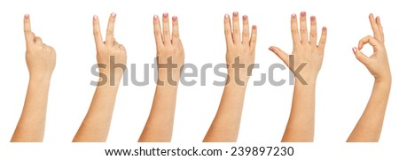 Female hands counting isokated on white background - stock photo