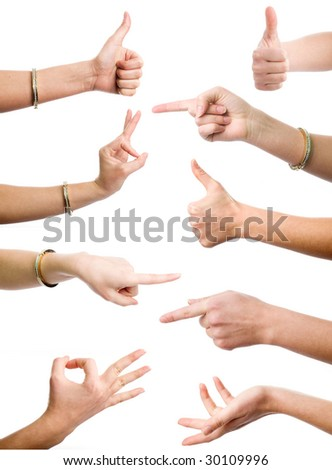 Female hands demonstrating various gestures on the white background