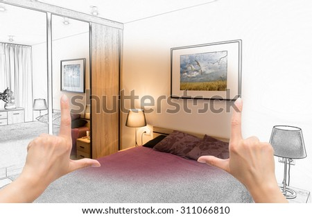 Female hands framing custom bedroom design. Combination drawing and photo. - stock photo