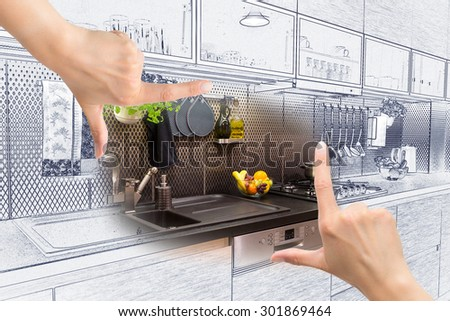 Female hands framing custom kitchen design. Combination drawing and photo. - stock photo