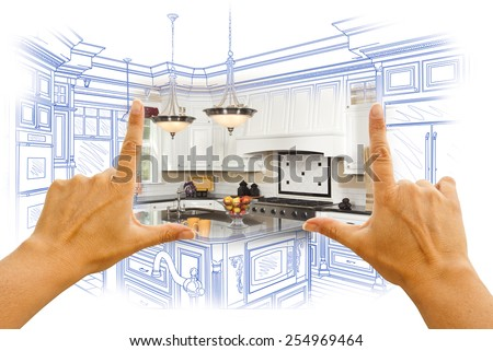Female Hands Framing Custom Kitchen Design Drawing and Photo Combination. - stock photo
