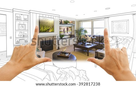 Female Hands Framing Custom Living Room Drawing Photograph Combination. - stock photo
