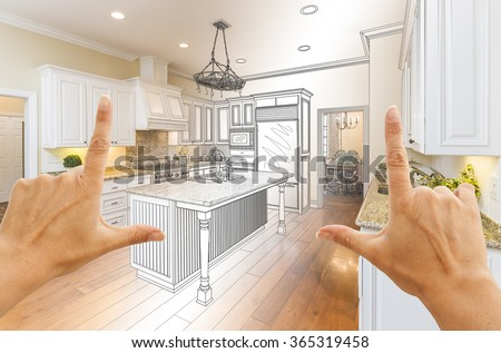 Female Hands Framing Gradated Custom Kitchen Design Drawing and Photo Combination. - stock photo