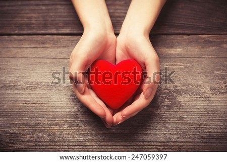 Female hands giving red heart