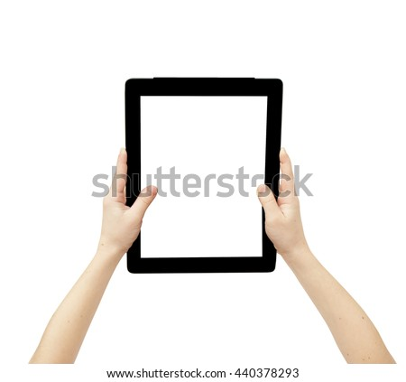 female hands hold tablet pc with white screen, isolated with clipping path