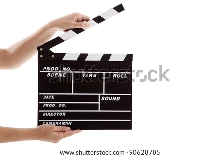 Female hands holding a clapboard, isolated on white - stock photo