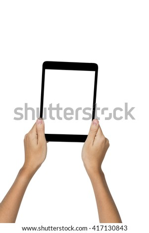 Female hands holding a computer tablet pc isolated on white