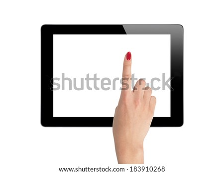 female hands holding a tablet isolated on white background - stock photo