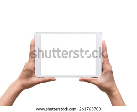 female hands holding a tablet touch computer gadget on white background - stock photo