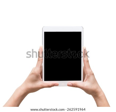 female hands holding a tablet touch computer gadget on white background