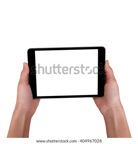 female hands holding a tablet touch computer gadget with isolated screen on white.