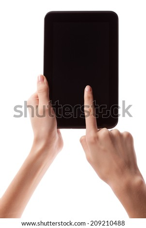 Female hands holding and touching android digital tablet computer with empty screen and copyspace, isolated on white background. - stock photo