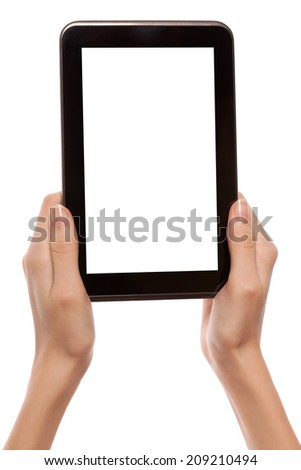 Female hands holding android digital tablet computer with black empty screen and copyspace, isolated on white background.