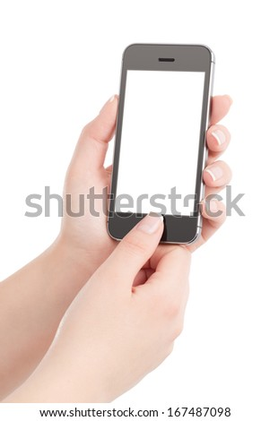 Female hands holding black modern smart phone with blank screen and pressing button by the thumb. Isolated on white background.  - stock photo