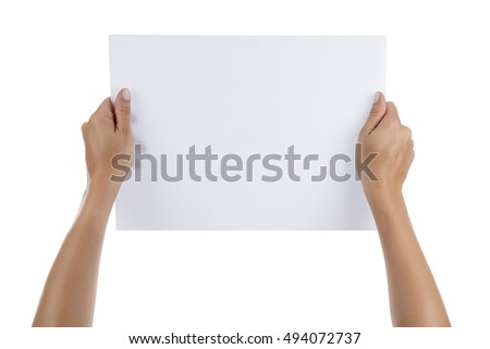 Female Hands Holding Blank Sheet