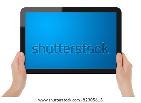 Female hands holding blank touch screen tablet. Include clipping path for tablet with hands and screen - stock photo