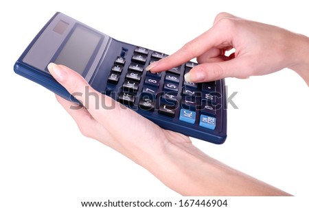 Female hands holding digital calculator isolated on white - stock photo