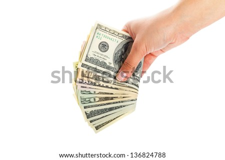Female hands holding dollar banknotes