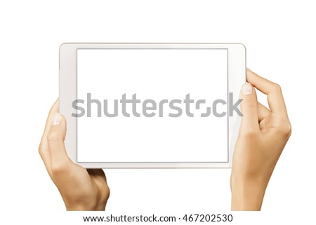 Female hands holding horizontal tablet with white screen isolated at white background.