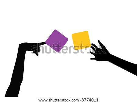 female hands holding purple and orange sticky notes - stock photo