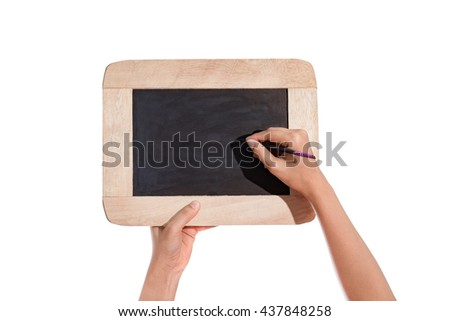 female hands holding slate board, blackboard and hand is Writing isolated on white background with clipping path - stock photo