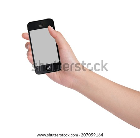 Female hands holding smart phone