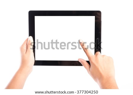 female hands holding tablet computer and finger touch the screen isolate on white background - stock photo