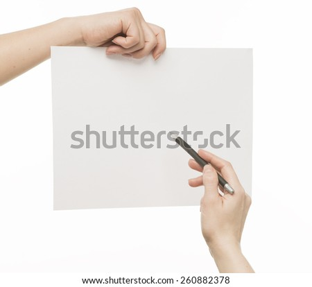 Female Hands holding white empty paper, writing, isolated on white - stock photo