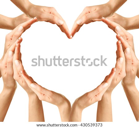 Female hands in heart shape, isolated on white
